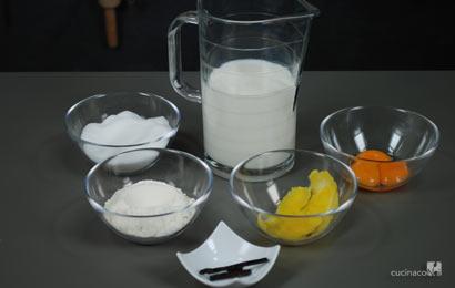 Ingredienti ricetta crema pasticcera