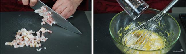 Preparazione ricetta alla carbonara