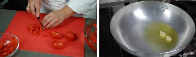 Ricetta pasta alla norma - Preparazione pomodori e soffritto