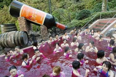 Questa suggestiva immagine ritrae un bagno di gruppo che si è tenuto nella stazione termale di Hakone, ad ovest di Tokyo. Gli allegri partecipanti si stanno sollazzando a bagno di un vino novello francese, il Beaujoalis, di cui il Giappone è il primo consumatore al mondo. Tra l'altro, pare che in Giappone il bagno nel vino sia diventata una vera e propria tendenza.