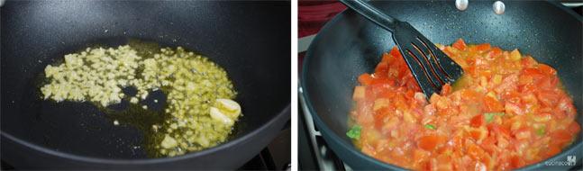 Spaghetti al pomodoro fresco - Foto ricetta - Fare imbiondire la cipolla tritata e l'aglio schiacciato con l'olio, eliminare l'aglio, unire i pomodori, il sale e le foglie di basilico spezzettate. Condire con il pepe e lasciare cuocere per 10 minuti - Cucina Con Noi