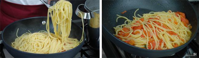 Spaghetti al pomodoro fresco - Foto ricetta - Nel frattempo cuocere gli spaghetti in abbondante acqua bollente salata. Scolarla al dente e versare nella padella con la salsa calda. Saltare a fiamma vivace, aggiungere qualche foglia di basilico e servire - Cucina Con Noi